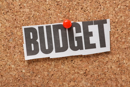 cutting costs: Newspaper clipping of the word Budget pinned to a cork notice board  Budget applies to balance the economy debt by government and by individuals managing their home finances