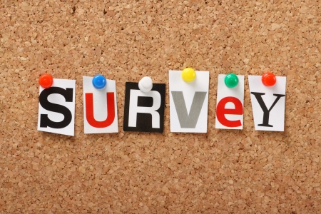 The word Survey in cut out magazine letters pinned to a cork notice board  Surveys are essential for feedback in politics and business  Stock Photo