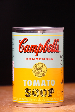 BRACKNELL, ENGLAND - JANUARY 07, 2014  Limited edition can of Campbell s Tomato Soup produced in collaboration with The Andy Warhol Foundation to commemorate his artwork series, Campbell s Soup Cans
