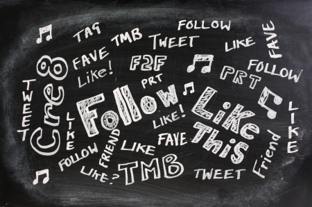 jargon: Well known Social Media or Networking acronyms,abbreviati ons and jargon written on a used blackboard Stock Photo