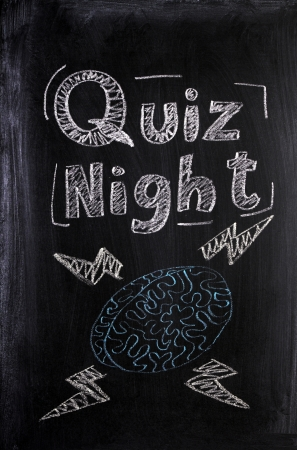 Quiz Night announcement on a used blackboard with a chalk drawing of a human brain fizzing with lightening bolts of knowledge and intelligence