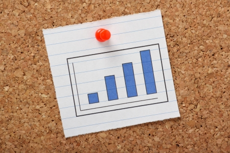 metrics: A bar chart or graph showing a positive trend pinned to a cork notice board