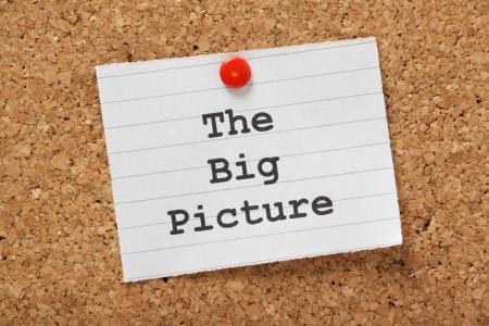 ザ ・ ビッグ ・ ピクチャーの部分に入力したフレーズ紙の裏地し、コルク板に固定 写真素材