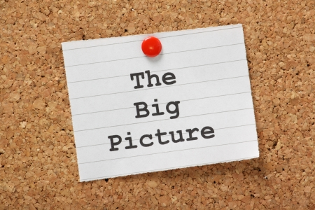 phrase: The phrase The Big Picture typed onto a piece of lined paper and pinned to a cork notice board