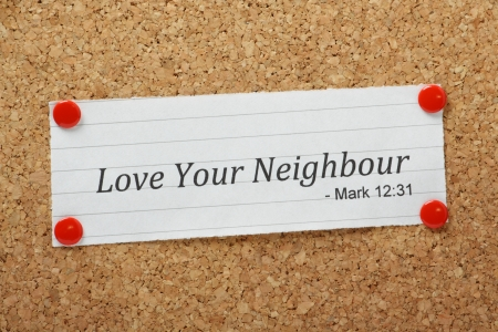 passages: The phrase Love Your Neighbour appears in the Bible book of Mark but also in many other passages of the Bible