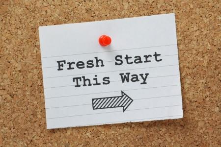 L'expression Fresh Start This Way avec une flèche pointant dans la bonne direction Banque d'images - 25306429