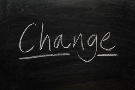 business change: Blackboard concept for the word Change Stock Photo