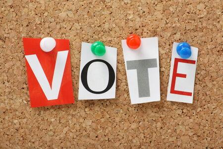cork board: The word Vote on a Cork Notice Board