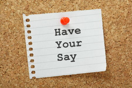The phrase Have Your Say typed on a piece of paper pinned to a cork notice board