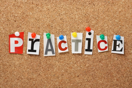 rehearse: The word Practice in cut out magazine letters pinned to a cork notice board