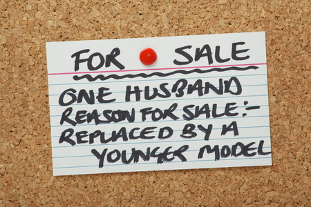 relationship breakup: A Husband For Sale Card pinned to a cork notice board  A humorous look at breakdowns in relationships