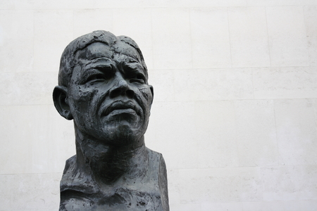 nelson: London,UK - Oct 30, 2009  Close up of the bronze statue of Nelson Mandela by Ian Walters on the South Bank in London on 30th October 2009  The piece was unveiled in 1985 by ANC President Oliver Tambo Editorial