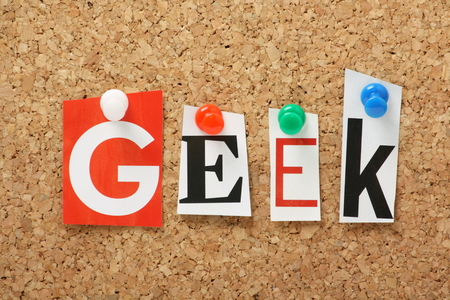 boffin: The word Geek in cut out magazine letters pinned to a cork notice board