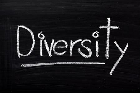 divergence: The word Diversity written in white chalk on a blackboard