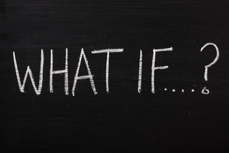 Die Frage, was, wenn auf einem gebrauchten Tafel geschrieben Standard-Bild