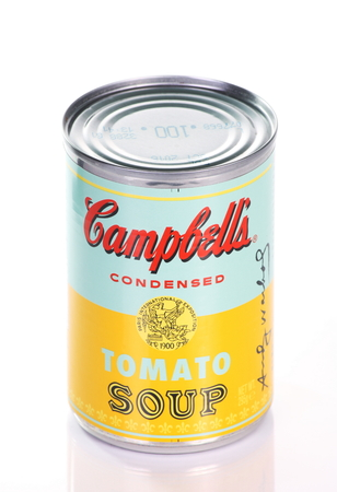BRACKNELL, ENGLAND - APRIL 29, 2014  Limited edition can of Campbell s Tomato Soup produced in collaboration with The Andy Warhol Foundation to commemorate his artwork series, Campbell s Soup Cans