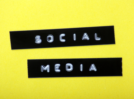 The Words Social Media Made Into Labels With An Embossed Letter ...