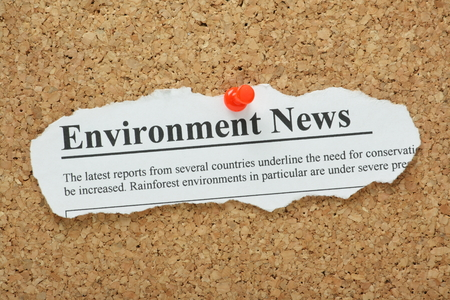 fake newspaper: Fake newspaper clipping for an Environment News headline pinned to a cork notice board