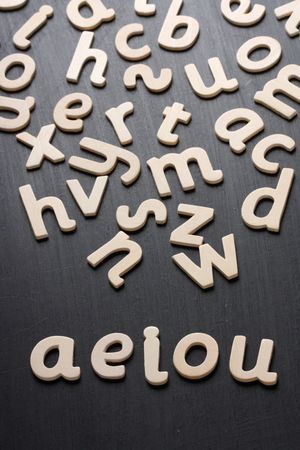 Wooden letters on a blackboard spell out the vowels used in spoken and written language Reklamní fotografie