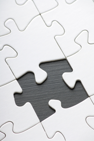 jumble: Jigsaw with Blank white pieces and one part missing