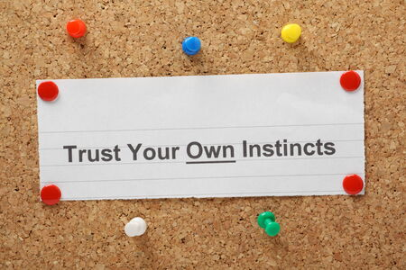 instincts: The phrase Trust Your Own Instincts on a cork notice board