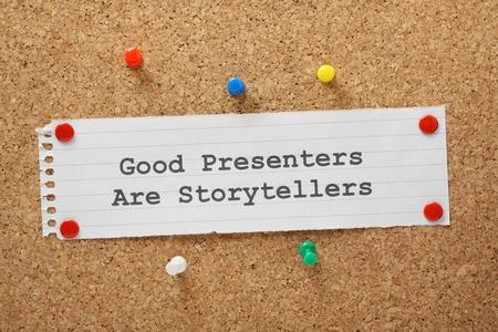 Gute Moderatoren sind Storytellers Effektive Präsentationsfähigkeiten Effektive Präsentationen Eingriff das Publikum von Anfang bis Ende mit relevanten Inhalten Standard-Bild - 29215104