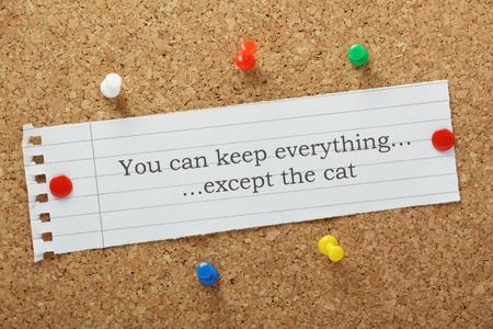 コルク掲示板 A ユーモラスで見て人間関係の問題、離婚の集落にピンで留めた紙メモに入力された猫を除いてすべてを保つことができます。