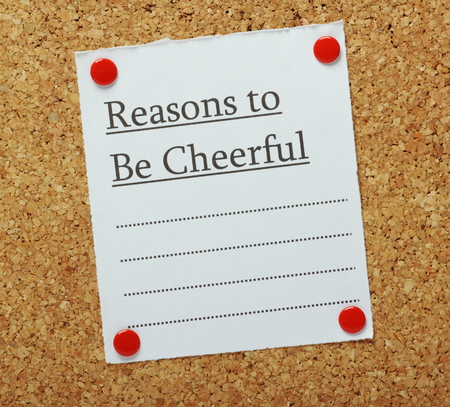reasons: A blank list of Reasons to Be Cheerful pinned to a cork notice board Stock Photo