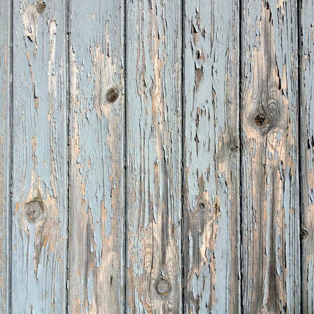 weather beaten: Close up of a wooden background with aged, knotted panels and peeling blue and grey paint Stock Photo