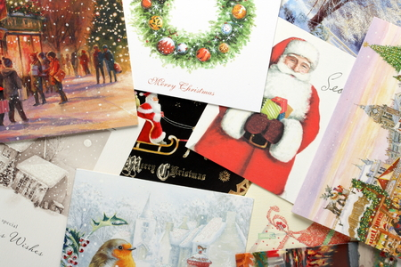henry: Bracknell, England - October 28th, 2014: Vintage style Christmas cards. Modern cards originated from a printing in 1843 instigated by Sir Henry Cole, director of Londons Victoria and Albert Museum