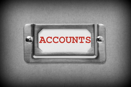 Accounts drawer label in black and white with red text photo