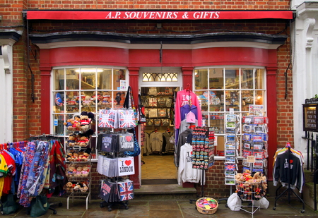 novelties: Windsor, England - January 01, 2015: A souvenir and gift retail store in the shopping district of Windsor, England. Annual visitor numbers to the town of Windsor are in excess of seven million Editorial