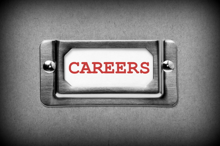 red label: The word Careers in red text on an index card drawer label