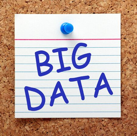 big cork: The phrase Big Data in blue text on a card pinned to a cork notice board