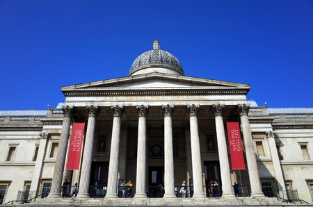 top ten: London, England - Sept 09, 2015: The exterior of the National Gallery in London, England with people in view. The gallery is a top ten destination for visitors to Londons galleries and museums.