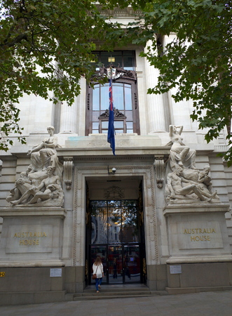 diplomatic: London, England - Sept 09, 2015: Person entering the High Commission of Australia building in London which serves as the diplomatic mission of Australia in the United Kingdom.