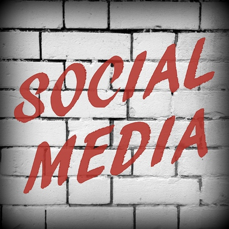 demographic: The phrase Social Media in red text on a brick wall background processed in black and white for effect
