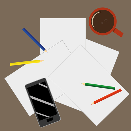 untidy: View from above of a desktop with blank sheets of paper, pencils a mobile phone and a cup of coffee as preparation for paperwork or sketching