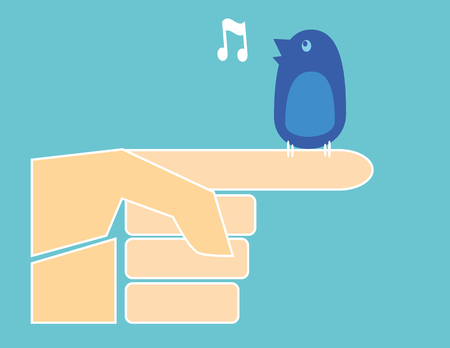 tweets: A small blue bird perched on the index finger of a stylized human hand tweets a musical note Illustration
