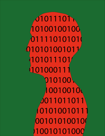 head shoulders: Human head and shoulders in profile filled with binary numbers in red and black on a green background