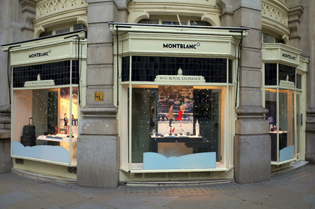 luxury goods: London, England - December 28, 2015: Exterior of the Montblanc Store at The Royal Exchange in London, England. Montblanc is a luxury brand maker of pens, watches, leather goods and accessories