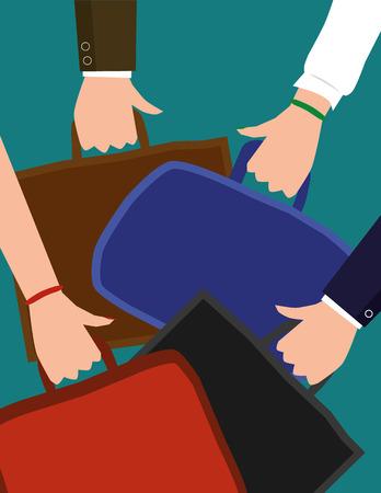 Illustrazione vettoriale di mani maschili e femminili che indossano abbigliamento di affari portando valigette o borse per notebook