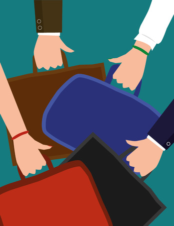 attire: Vector illustration of male and female hands wearing business attire carrying briefcases or laptop bags