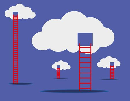 climbing up: Floating white clouds with red ladders climbing up as a concept for cloud storage and access via the internet Illustration