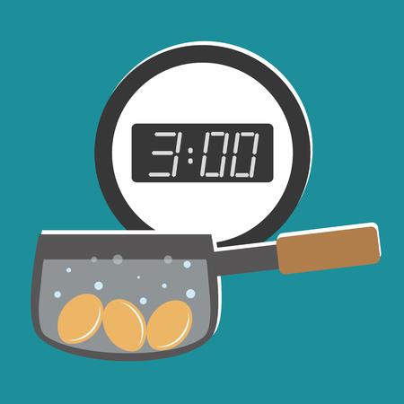saucepan: Illustration of three chicken eggs boiling in a saucepan under a digital wall clock