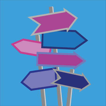 Signposts and direction arrows in shades of blue and purple on posts with copy space