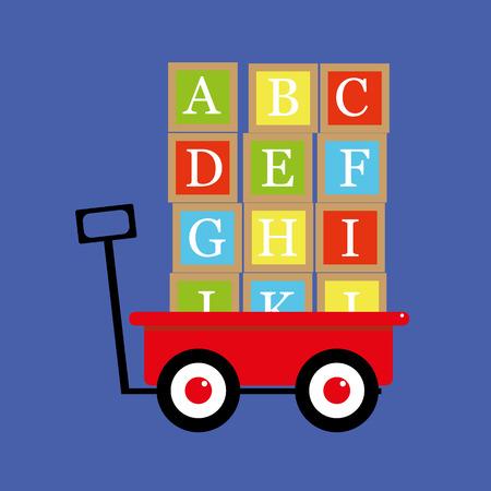 pull toy: Vector ilustración de un carro de juguete de color rojo tradicional o carro con bloques de la letra del alfabeto apilados y listos para ser transportado Vectores