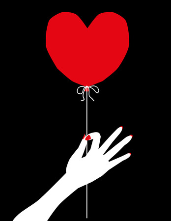 woman floating: Stylized female hand holding a red balloon in the shape of a valentine heart by a piece of string, in basic colors of red, white and black Illustration