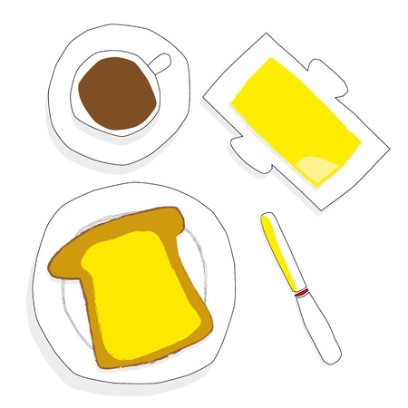 buttered: Hand drawn style illustration of buttered toast, and a butter dish with a cup of coffee and a knife seen from above view