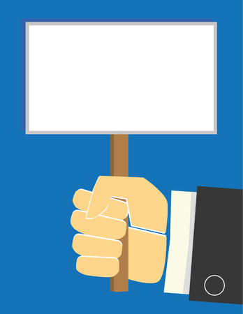 hand holding sign: Arm and hand of a businessman holding up a blank white sign or placard with room for your text Illustration